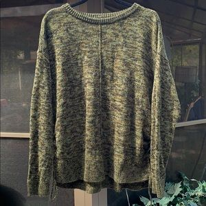 Relativity Olive Green Knit Side Lace-Up Sweater